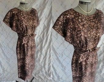 50s 60s Dress // Vintage 1950s 1960s Brown Print Silk Wiggle Dress by Helga Size M 27 waist metal back zipper Helga & Robert Oppenheimer