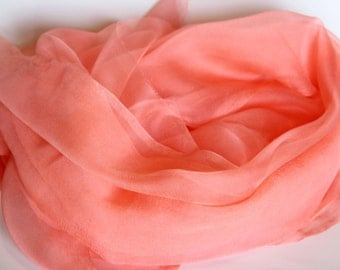 "Peach Silk Scarf - Photo Prop - Infant Wrap - Great Gift - Low Shipping - Accessory - 20"" x 84"""