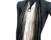 Extravegant leather fringe necklace,leather fringe bib, long fringe necklace,boho, gypsy, statement piece: Renegade Icon Designs