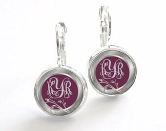 Monogram Earrings, Bridesmaid Gift, Monogram Jewelry Personalized Earrings (357)