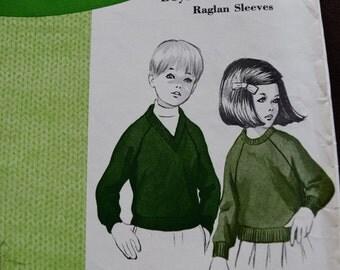 Vintage Sew-Knit-N-Stretch Boys or Girls Pullover Raglan Sleeves Pattern #104 Designed by Kerstin Martensson