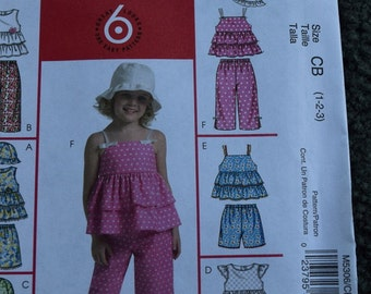 McCalls M5306 Toddler and Children's Top's, Shorts, Capri Pants and Hat in sizes 1-2-3 (uncut)