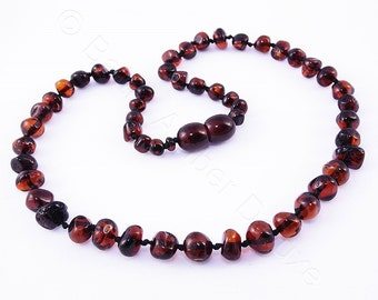Amber teething necklace CHERRY beads
