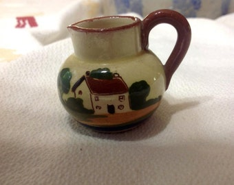Vintage  England British Pottery Mottoware PITCHER CREAMER TORQUAY miniature c430