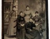 Tintype Photo 5 Young Women Victorian Dresses Window Background Half Plate Tintype