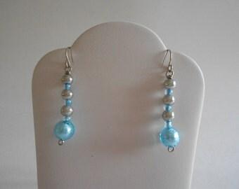 Blue Beads Earrings Blue Earrings Lamp Work Beads Blue Glass Beads Silver Beads Beaded Earrings Glass Beads Pierced Earrings Dangle Earrings