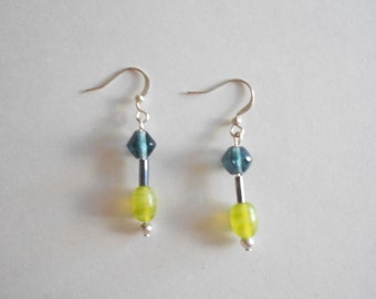 Blue Beads Earrings Green Beads Earrings Lime Green Earrings Glass Beads Earrings Blue Earrings Green Earrings Pierced Earrings