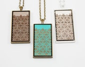 Geometric Floral Pattern Pendant - Engraved Wooden Cameo (Custom Made / Personalized)