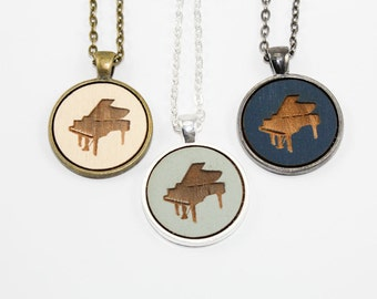 Grand Piano Pendant - Laser Engraved Wooden Cameo (Custom Made / Any Color)