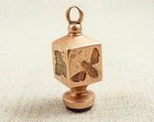 Antique Victorian 14K Gold Large Fob with Carnelian Monogram Seal and Engraved with a Bee and a Leaf