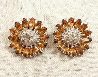 Vintage Orange Rhinestone 3 Dimensional Flower Clip On Earrings