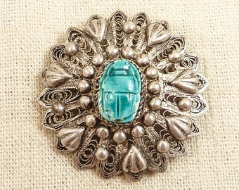 Vintage Egyptian Sterling Filigree Pendant Brooch with Applied Glazed Ceramic Scarab Bead