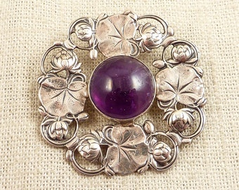SALE --- Vintage Arts & Crafts Era Great Falls Metal Works Sterling Lotus Flower Wreath Brooch with Amethyst Accent