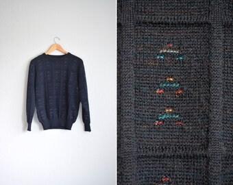 SALE // Size S (Short) // KNIT PATTERNED Sweater // Navy Blue - Preppy - Grunge - Pullover - Vintage Jumper.