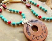 Cherokee Language Cedar Pendant Necklace, Remembrance Necklace, Native Style, Trail of Tears Jewelry, Turquoise and Red, Handcrafted