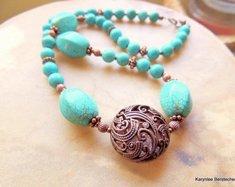 Turquoise and Copper Necklace, Copper Fiddleheads Necklace, Boho Jewelry, Native Style, Handcrafted Jewelry, Southwest Style