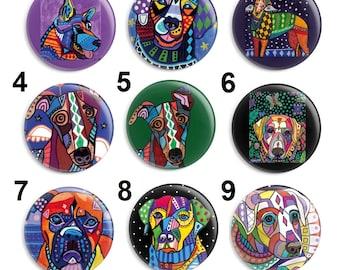 Needle Minder, Dog Cross Stitch, Licensed Art, Heather Galler, Keeper, Size: 38mm Fridge Magnet, Embroidery Minder, Puppy Dog Art,(GRHGD4)