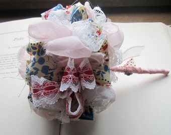 Vintage Fabric Flowers * Fabric wedding Bouquet  * Red White Blue and Pink * Rockabilly Weddings * Gifts and Keepsakes * Destination Flowers