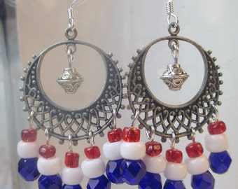 Chandeliers in Red, White and Blue earrings with filligrees in antique silver metal holiday earrings patriotism flag colors dangle earrings