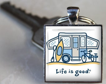 Life Is Good POP UP Camper Vintage SHASTA Aloha Trailer Rv Altered Art Glass Pendant Charm Keychain