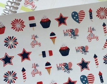 July 4th Sticker Set, Perfect for Erin Condren Life Planner Plum Paper Planner & Other Planners, Holiday Stickers