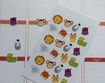 Planner Stickers 24 Animal Faces Fits Erin Condren Planner Plum Paper Planner Stickers