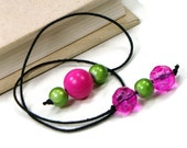 Beaded Bookmark Hot Pink Lime Green Book Book Thong Cord String Bookmark Gift under 5 Book Club Teacher Gift