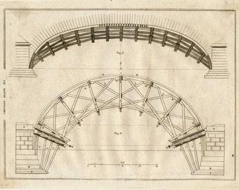 1797 Antique Copper-engraved Plate on Carpentry - Encyclopaedia Britannica Print - Plate XVI
