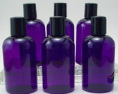 6 Empty 4 Ounce Purple PET Lotion Bottles - Soap Making and Cosmetic Supplies - Boston Round with Black Disc Caps - Purple Packaging