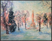 RESERVED last payment  / Original Southwest Impressionist Painting, Santa Fe Plaza at Christmas, Russ Potak