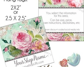 """500 Custom Hang Tags - Shabby Chic Flowers - 2 X 2"""" or 2.5 X 2.5"""" - Double Sided with holes - free shipping"""