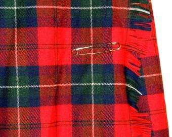 KILT Red Plaid Wool size 6, Pendleton Wool