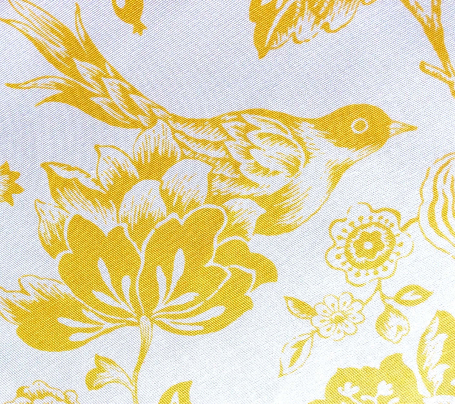 White And Yellow Toile Fabric By The Yard With By