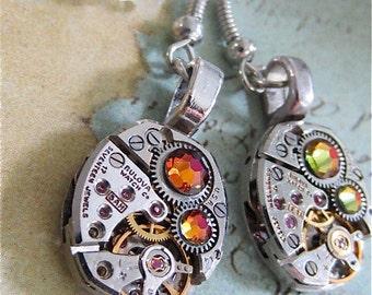 Steampunk ear gear - Volcano - Steampunk Earrings - Repurposed art