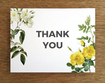 Printable Thank You Card - Yellow and White Vintage Rose Thank You Note Template - Thank You Card PDF - Instant Download - Botanical