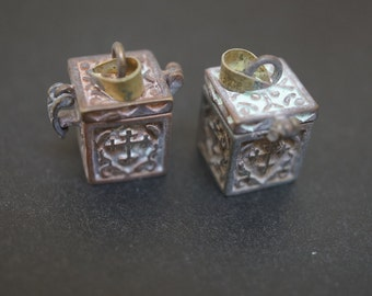 Authentic Vintage Stock Raw Brass Tiny Rectangular Magic Chest Mini Charm Wish Box with Lots Patinas - 2 pcs - NO COUPON