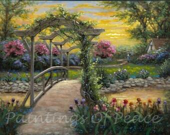 Bridge Painting - Sunset Painting - flowers - house - trellis - 11 x 14