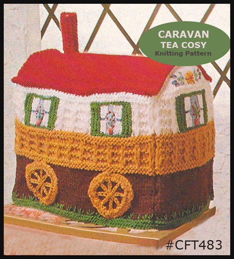 Vintage Tea Cozy Cosy CARAVAN Knitting Pattern CFT483 Mailed