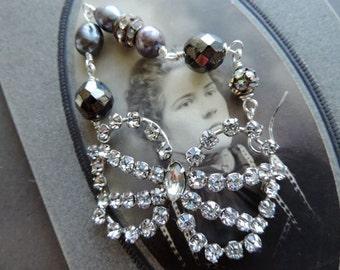 Vintage Assemblage Bracelet  Kramer Sterling Rhinestone Brooch Pearls Gray and Black