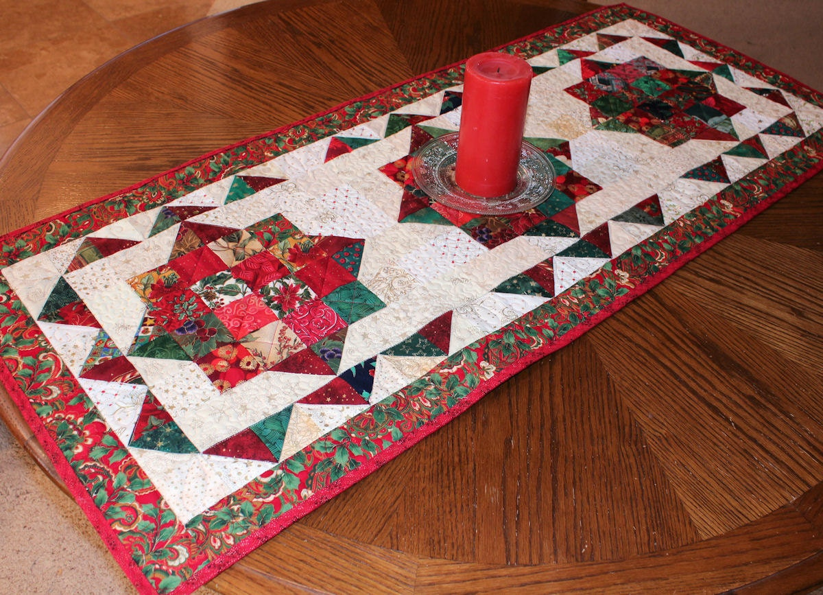 Christmas Jewels Quilted Table Runner Bright Red Green And