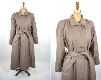 1980s trench coat | classic dark taupe London Fog lined trench coat | vintage 80s trench