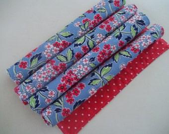 Retro Floral Cloth Napkin Set of 4 Red &  Blue