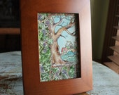 """Original Watercolor 4"""" x 6"""" Whimsical Castle Vignette with Tree and Grapevine"""