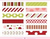 Holiday Polka Washi Tape Digital Clip Art Set - Commercial and Personal Use - by Sweet Papers Red, Chartreuse, Pink, Brown, Polkadot,