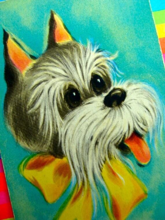 Vintage Kitsch Adorable Terrier Dog Vintage Retro Playing Cards
