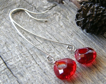 Long Red Quartz Sterling Silver Earrings