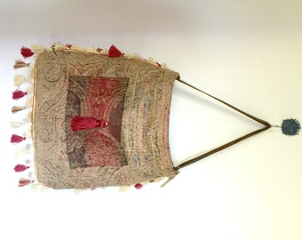 Upcycled Ethnic Multi Burgundy Boho Leather Tassel Fringe Beach Bag Tote