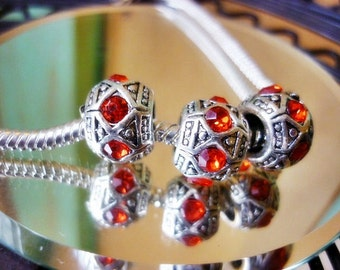 SALE Red Crystals Silver Spacer European bead,Add a bead Crystal