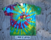 Wavy Gravy Spiral Tie Dye T-Shirt (Gildan Youth Size XS) (One of a Kind)