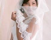 Embroidered Lace Veil, Fingertip Veil, Beaded Lace Veil, Lace Bridal Veil, Ivory Lace Veil, Scallop Lace Veil, Bridal Accessories